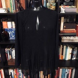 NWT Massimo Dutti Black Pleated Sheer Blouse
